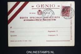 Italy: Genio Busta Cover 1915 - 1900-44 Vittorio Emanuele III