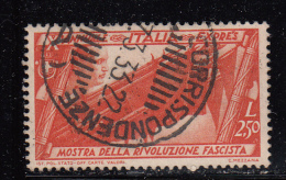 Italy Used Scott #E17 2.50 L Mussolini, Trophies Of Flags - Special Delivery - 1900-44 Vittorio Emanuele III