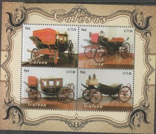 0) 2014 PERU, CALESAS, VINTAGE CARS, SOUVENIR MNH - Peru