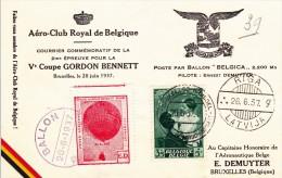 2783-13 - Belgique FS - Feuillet Souvenir - Poste Par Ballon  Du 26-6-1937 - COB 449 - Cachet De Bruxelles Riga Latvija - Storia Postale