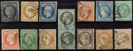 FRANCE - Bon Lot De 14 Classiques Oblitérés Entre 1849 Et 1872 Avec Une Paire Du 1 C. Lauré - France