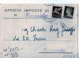 CARTOLINA POSTALE  UFFICIO IMPOSTE DI SASSUOLO-4-7-1945 - 5. 1944-46 Lieutenance & Umberto II