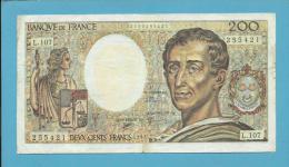 FRANCE - 200 Francs - 1992 - P 155.e -  Série L. 107 - Montesquieu - Sign: D. Bruneel, J. Bonnardin, A. Charriau - 200 F 1981-1994 ''Montesquieu''