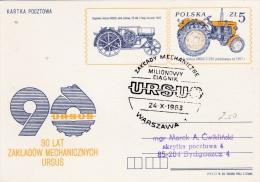 Transport: Poland, Postal Stationary P/m Warszawa 24.10.1983 Ursus Tractor  (G59-79) - LKW