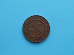 1934 - Penny / KM 23 ( Uncleaned Coin - For Grade, Please See Photo ) !! - Penny