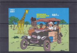 Tintin - République Du Congo  - Bloc Avec Surcharge Expo Shangai 2010 ** - MNH - NON Dentelé - Surcharge De Travers - Comics