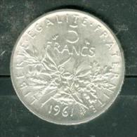 France Piece 5 Francs Argent Type Semeuse Année 1961 ( Silver )   - Pia10201 - France