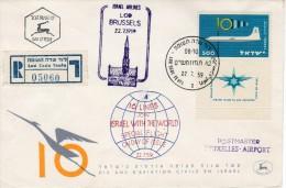 Israel-Belgium FFC 1959-Israel-Airlines-Registered FDC-full-tab Stamp-IA1 - Airplanes