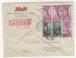 Italien Michel No. 810 , 812 , 817 auf Brief Bahnpoststempel Basel Frankfurt