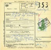 347/23 - Formule De Colis TP Chemins De Fer Gare ANTOING 1961 - Expéd. Midavant à PERONNES - Chemins De Fer