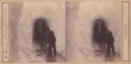 ORIGINALE-PHOTO-STEREO-19 EME-SUISSE-SWITZERLAND-GROTTE DE GLACE-GRINDELWAND-A. BRAUN-DORNACH-HAUT-RHIN-VINTAGE-2 SCANS - Stereoscopic