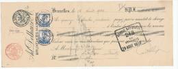 353/23 - Mandat 2 X  TP Pellens 25 C BRUXELLES 1913 - Timbres PERFORES A.D.C. - Firme Ad. Delhaize - Perfins