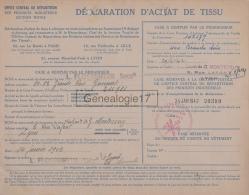 69 3884 LYON RHONE 1942 DECLARATION D ACHAT DE TISSU ( Rationnement ) OFFICE CENTRAL DE REPARTITION Mr G. MONTESSUY - 1939-45
