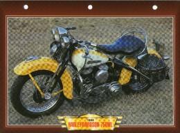 1948 HARLEY DAVIDSON 750 WL  /   FICHE TECHNIQUE MOTO FORMAT A4  DÉTAILS CARACTÉRISTIQUES TBE - Motor Bikes