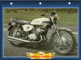 1969 KAWASAKI H1 500 MACH III  /   FICHE TECHNIQUE MOTO FORMAT A4  DÉTAILS CARACTÉRISTIQUES TBE - Motor Bikes