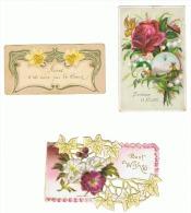 Lot De 3 Images Avec Découpis, Relief - Fantaisie, Voeux, ... (b139) - Flowers