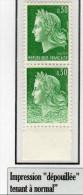 """MARIANNE DE CHEFFER - 0,30Fvert Td (N° 1536A**) : Impression """" Dépouillée"""" Tenant à Normal - 1967-70 Marianne Of Cheffer"""