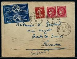 FRANCE- LETTRE PAR AVION  OBL POSTES AUX ARMEES EN 1939 POUR NIMES   A ETUDIER    A VOIR  LOT P2243 - Postmark Collection (Covers)