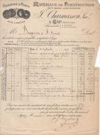 Facture   1898  Charmasson Esreyer Matériaux De Construction Charbons Et Cokes GAP - France
