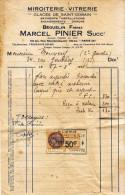 1931 - Miroiterie Vitrerie Marcel Pinier Au 59 Bis Rue Rochechouart à Paris 9ème - FRANCO DE PORT - Straßenhandel Und Kleingewerbe