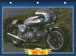 1973 DUCATI 750 SS  /   FICHE TECHNIQUE MOTO FORMAT A4  DÉTAILS CARACTÉRISTIQUES TBE - Motor Bikes