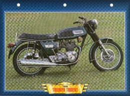 1969  TRIUMPH TRIDENT   / FICHE TECHNIQUE MOTO FORMAT A4  DÉTAILS CARACTÉRISTIQUES TBE - Motor Bikes