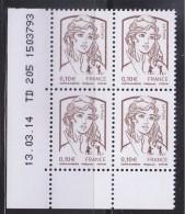 = Marianne Et La Jeunesse Gommées X 4 Faciale 0.10€, En Coin De Feuille Bas Et Daté 13.03.14 TD 205 1503793 N°4765 Neuf - Dated Corners