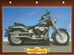 1989  HARLEY DAVIDSON FAT BOY    /   FICHE TECHNIQUE MOTO FORMAT A4  DÉTAILS CARACTÉRISTIQUES TBE - Motos