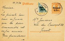 361/23 - Entier Germania + TP Germania Coupé En Deux ( Hausse De Tarif) - VILVORDE Septembre 1918 - RARE Circulé - German Occupation