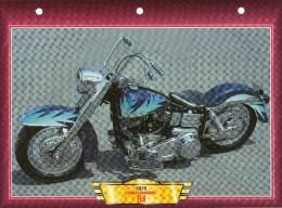 1979  HARLEY DAVIDSON  FLH  /   FICHE TECHNIQUE MOTO FORMAT A4  DÉTAILS CARACTÉRISTIQUES TBE - Motor Bikes
