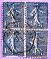 France YT N°205  Semeuse Lignée (Bloc De 4) Oblitéré 1927 PHOTO RECTO VERSO - 1903-60 Sower - Ligned