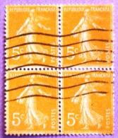 France YT N°158  Semeuse Camée (Bloc De 4) Oblitéré PHOTO RECTO VERSO - 1906-38 Sower - Cameo