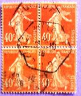 France YT N°194  Semeuse Camée (Bloc De 4) Oblitéré 1926 PHOTO RECTO VERSO - 1906-38 Sower - Cameo