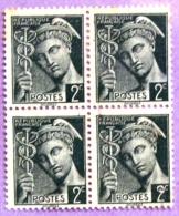 France YT N°405 Mercure (Bloc De 4) Oblitéré PHOTO RECTO VERSO - 1938-42 Mercure