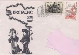Flamme De Dol De Bretagne (35) Sur Enveloppe Illustrée De Bretagne, Timbres Tréguier (22) Et Gastronomie - Marcofilie (Brieven)