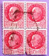 France YT N°516 Pétain (Bloc De 4) Oblitéré PHOTO RECTO VERSO - 1941-42 Pétain