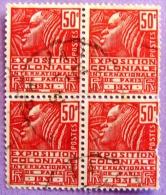 France YT N°272 Exposition Coloniale 50c (Bloc De 4) Oblitéré  PHOTO RECTO VERSO - Used Stamps
