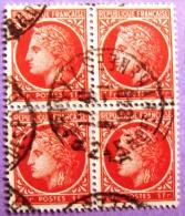 France YT N°676 Type Cérès 1F (Bloc De 4) Oblitéré  1948 PHOTO RECTO VERSO - Used Stamps