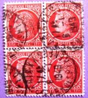 France YT N°676 Type Cérès 1F (Bloc De 4) Oblitéré  1949 PHOTO RECTO VERSO - Used Stamps