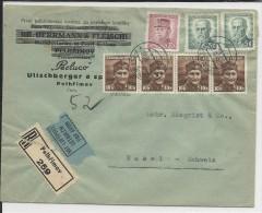 TCHECOSLOVAQUIE - 1945 - ENVELOPPE RECOMMANDEE Par AVION De PEHLRIMOV Pour BASEL (SUISSE) - Tchécoslovaquie