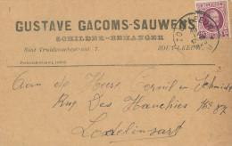 374/23 - Carte Privée TP Houyoux ZOUTLEEUW 1925 - Entete Gustave Gacoms - Sauwens , Schilder - Behanger - 1922-1927 Houyoux