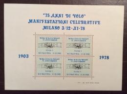 POSTA AEREA - ERINNOFILO CINDARELLA - FOGLIETTO 75 ANNI DI VOLO  1903 - 1978 - Posta
