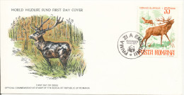 Romania FDC 20-3-1977 Deer WWF With PANDA In The Postmark With Cachet - FDC