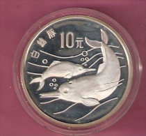 CHINA 10 YUAN 1988 AG PROOF DOLPHINS 35.000 PCS  SPOTS ONLY ON CAPSEL - Cook