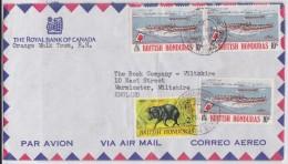 BELIZE - BRITISH HONDURAS - Stamp Air Mail Cover Orange Walk Town 1973 To Warminster - Royal Bank Of Canada - Warree - Honduras Britannique (...-1970)