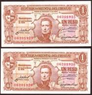 * URUGUAY - 1 PESO (año 1939) 2 Correlativos - VARIANTE 10.III.27 Pick#35c - Uruguay