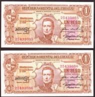 * URUGUAY - 1 PESO (año 1939) 2 Correlativos - VARIANTE 10.III.20 Pick#35b - Uruguay