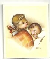 Mignonnette Double. Naissance. Bébé Et Petite Fille. Signée Bonnie. Coloprint 11369/4. 7,5/9 Cm - Geboorte