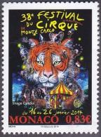 Monaco Art N° 2907 ** Spectacle - 38 ème Festival Du Cirque En 2014 - Chapiteau, Tigre, éléphant - Cirque