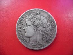 5 FRANCS CERES 1850 A En Argent  @ Poids 25 Grammes Silver 90% - J. 5 Franchi